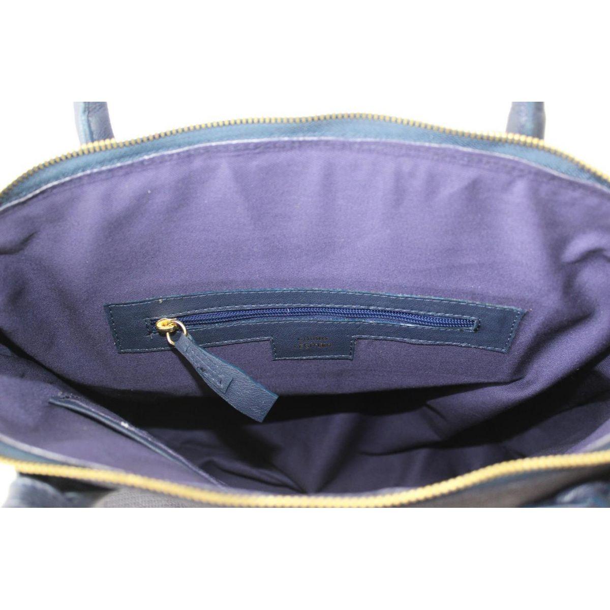 Bolsa De Couro Legitimo Azul : Bolsa de couro leg?timo lace? blg nobuck trisse azul