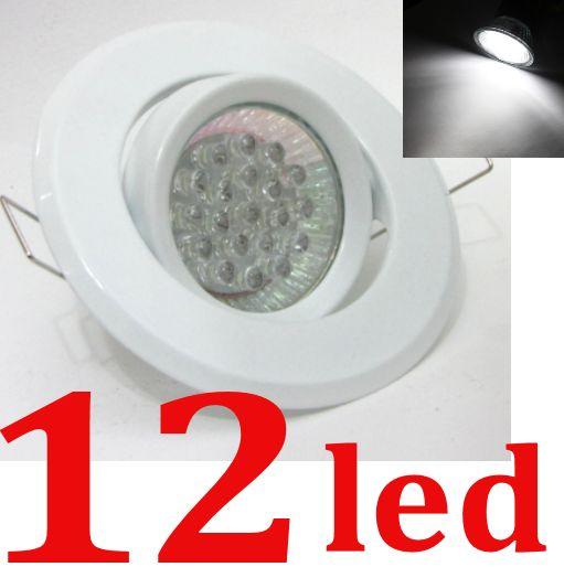 Spot REDONDO BRANCO + Lampada 12 Leds BRANCO PURO (tipo Dicroica)