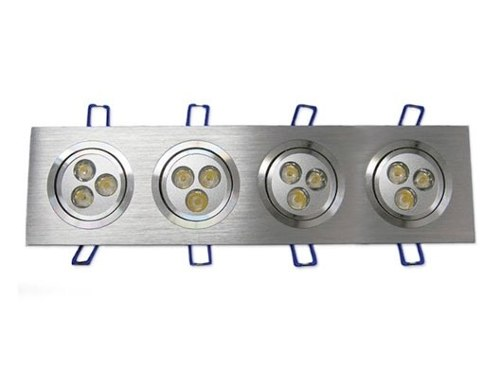 Spot Alumínio Retangular (Quadruplo 3W) 12W Led Branco Puro