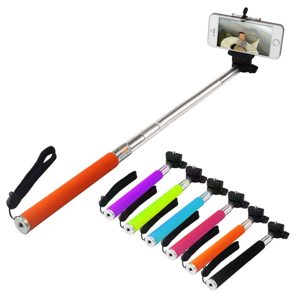 Bastão Pau de Selfie Monopod c/ Controle Remoto Bluetooth Amarelo