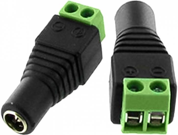 Conector DC Fêmea de Parafusar Verde 2.1mm x 5.5mm
