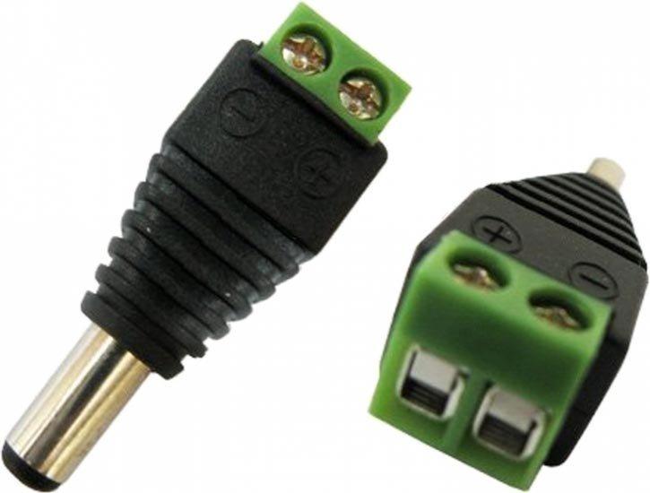 Conector DC Macho de Parafusar Verde 2.1mm x 5.5mm