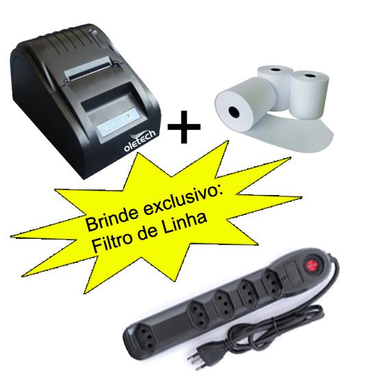 IMPRESSORA TÉRMICA 57MM - OLETECH OT100 SLIM USB + (10unidades) BOBINA PAPÉL TÉRMICO 57X30 + BRINDE EXCLUSIVO