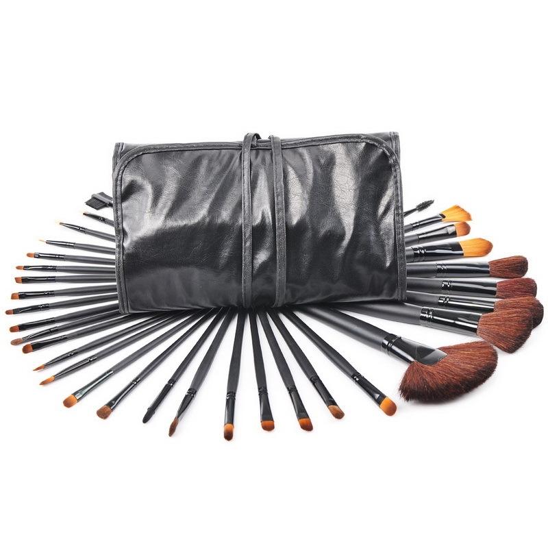 Kit 32 Pincéis Maquiagem + Estojo Premium PRETO