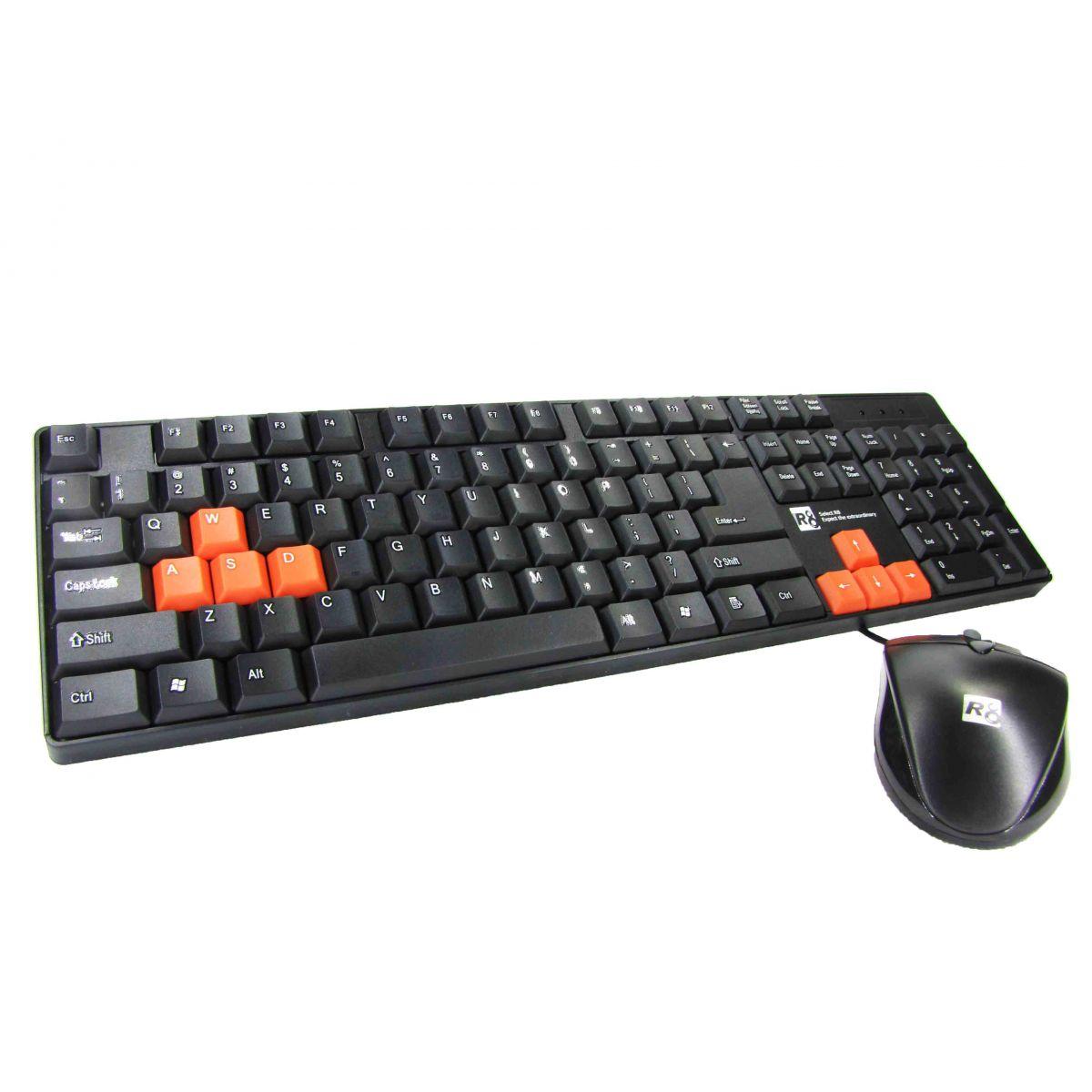 Kit Gamer Teclado USB Prova D´Água + Mouse R8