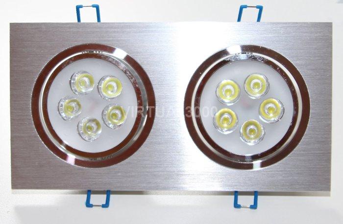 Spot Alumínio Retangular (Duplo 5W) 10W Led Branco Puro