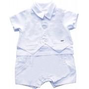 Banho de Sol Masculino Batizado Branco Com Falso Colete e Gravata