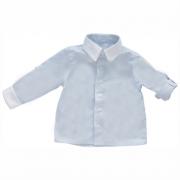 Camisa Manga Longa Listras Azuis Claro Tricoline