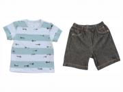 Conjunto Masculino Camisa+Bermuda Jeans Aviões