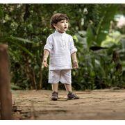 Conjunto Curto Masculino Camisa + Bermuda Batizado Infantil
