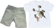 Conjunto Curto Masculino Camisa + Bermuda Branco