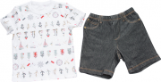 Conjunto Curto Masculino Camisa + Bermuda Navy