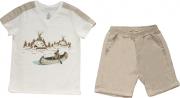 Conjunto Masculino Camisa + Bermuda Off-White
