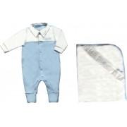 Conjunto Maternidade Masculino Sem Forro Suedine Com Gola Azul Claro