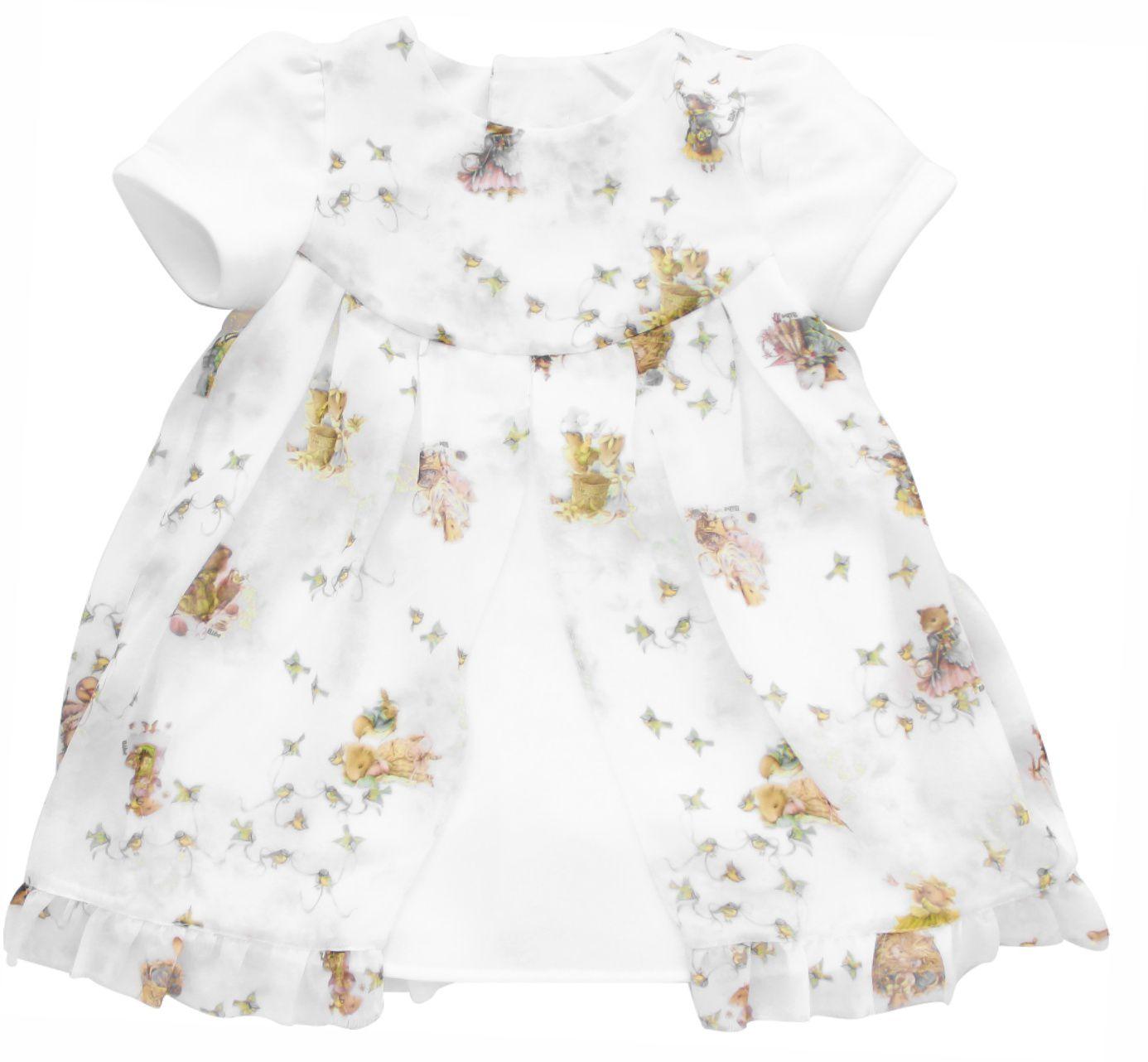 Vestido Feminino Manga Curta De Chiffon Estampa Ratinhos Infantil