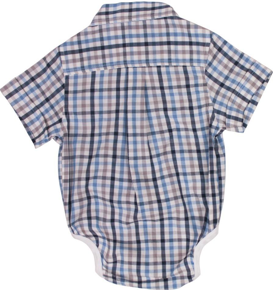 Body Masculino Camisa Manga Curta Tricoline Xadrez