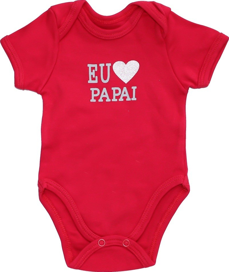 Body Unissex Manga Curta Eu Amo Papai BY BIBE