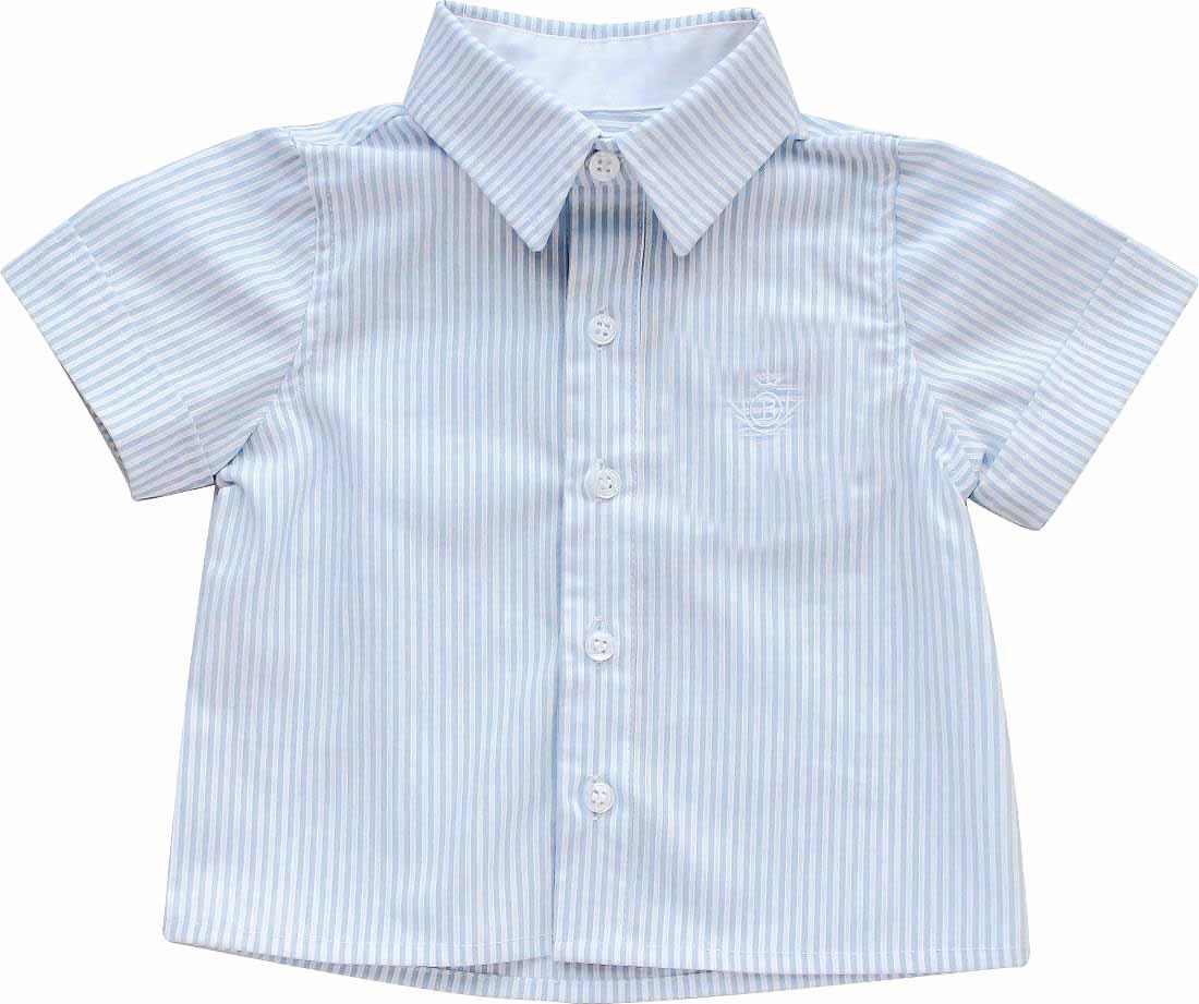 Camisa Manga Curta Listra Celeste Tricoline