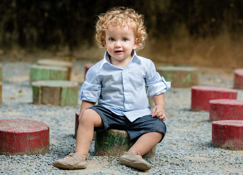 Camisa Manga Longa Bebê Listras Azuis Claro Tricoline