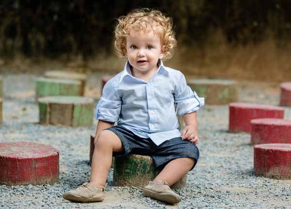 Camisa Manga Longa Infantil Listras Azuis Claro Tricoline