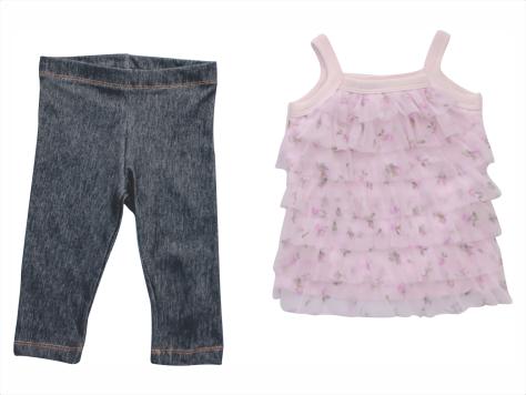 Conjunto Feminino Blusa+Calça Capri Jeans Rosinhas