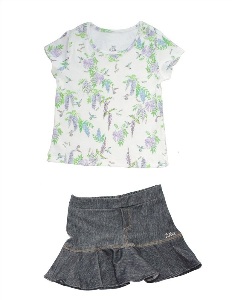 Conjunto Blusa+Saia Jeans Beija-Flor