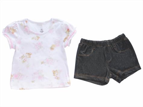 Conjunto Blusa+Short  Jeans Chá das 5