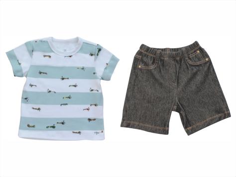 Conjunto Camisa+Bermuda Jeans Aviões