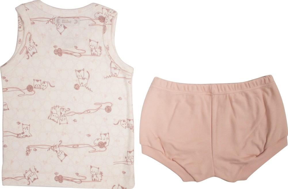 Conjunto Curto Feminino Regata Estampa Little Cats + Tapa Fralda Liso