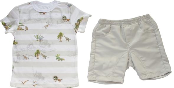 Conjunto Curto Masculino Camisa + Bermuda Dinossauros