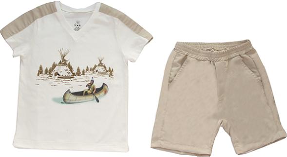 Conjunto Curto Masculino Camisa + Bermuda Off-White