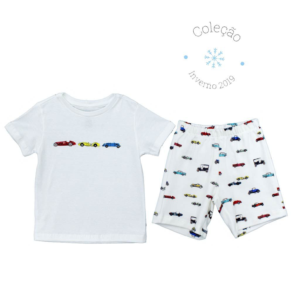 Conjunto Curto Masculino Camisa + Short Estampa Digital Carros Antigos