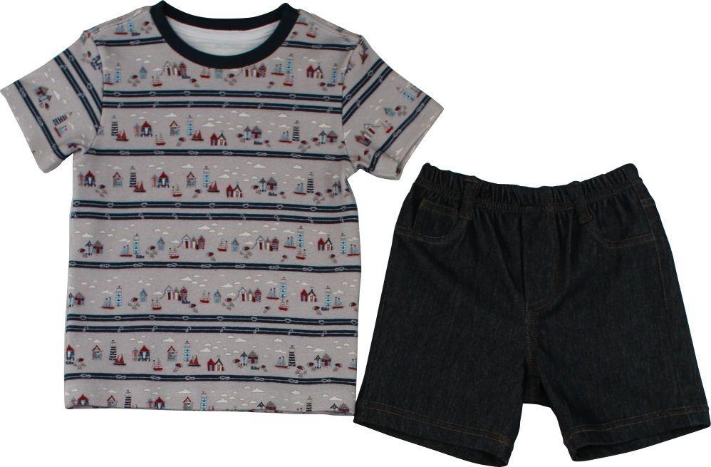 Conjunto Masculino Camisa Estampa Digital Farol + Bermuda Jeans