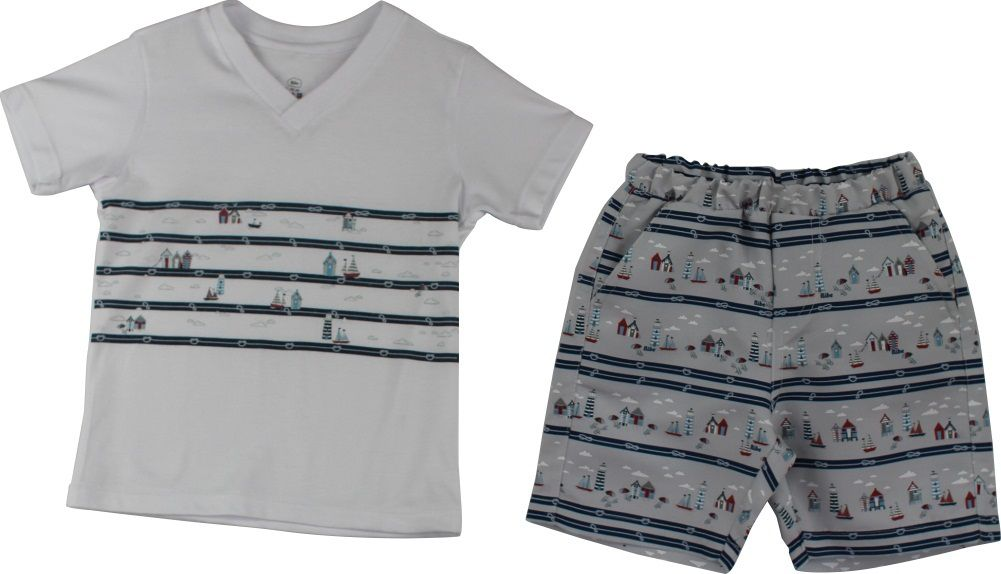 Conjunto Masculino Camisa Gola V + Bermuda Tactel Estampa Digital Farol