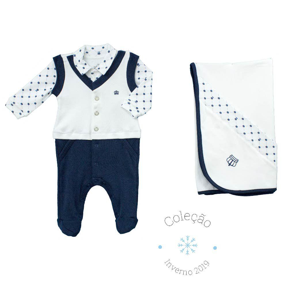 Conjunto Maternidade Masculino Sem Forro Falsa Camisa Estampa Digital Pequeno Príncipe Algodão Egípcio