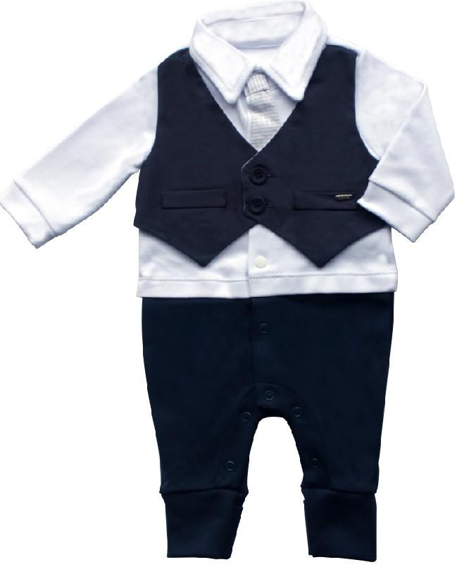 Conjunto Maternidade Masculino Sem Forro Suedine Marinho
