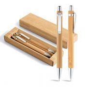 Conjunto de esferográfica e lapiseira. Bambu