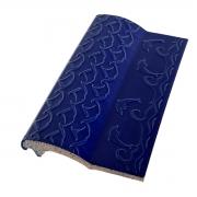 Kit 10 Bordas de Piscina de Cerâmica Golfinho Azul Cobalto 12x25
