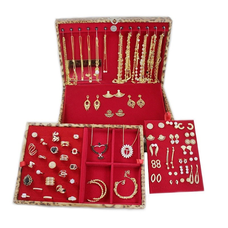 Kit Contendo 160 Peças Folheadas + Maleta Texturizada Gold Exterior Rosa e Interior Preto