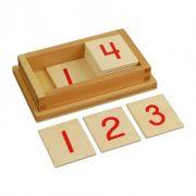 Caixa com Cartões de Números para Barras Vermelhas e Azuis