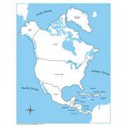 Controle para Mapa da América do Norte com Partes Nomeadas em Inglês