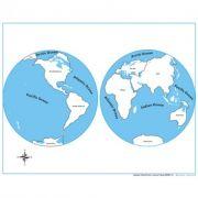 Controle para Mapa-Múndi com Partes Nomeadas em Inglês