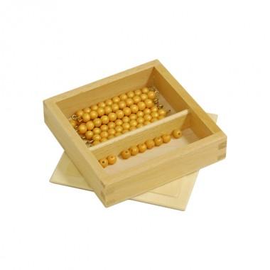 Caixa para Barras de Dezenas de Contas Douradas e Unidades
