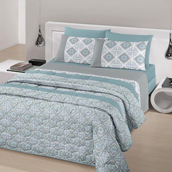 Jogo de cama queen size Royal Dijon 100% algodão estampado Indiano - santista