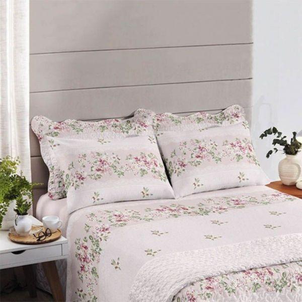 Jogo de cama solteiro Royal Luara Rosa 100% algodão estampado - Santista