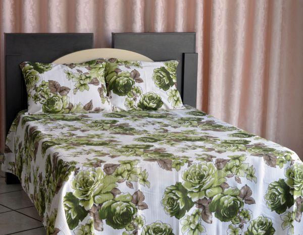 Kit colcha de casal piquet estampada Flores Verdes  - OMA Enxovais