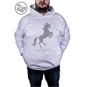Blusa Moletom Plus Size Estampa Estampado Fire Unicorn