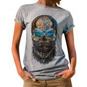 Blusa OutletDri T-Shirt Estampada Beard Colored Skull Cinza