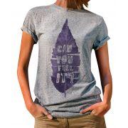 Blusa OutletDri T-Shirt Estampada Can You Feel It Cinza
