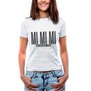 Blusa OutletDri T-Shirt Estampada Mi Mi Mi Branca